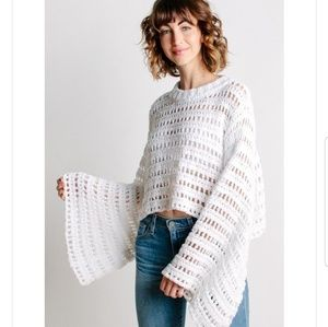 Free people  Caught up crochet top in white